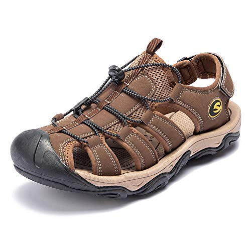 UBFEN Herren Sandalen Trekkingsandalen Sommer Sport Outdoor Schuhe Strand Wandersandale Wanderschuhe Freizeitschuhe Atmungsaktive Sandale 45 EU Braun