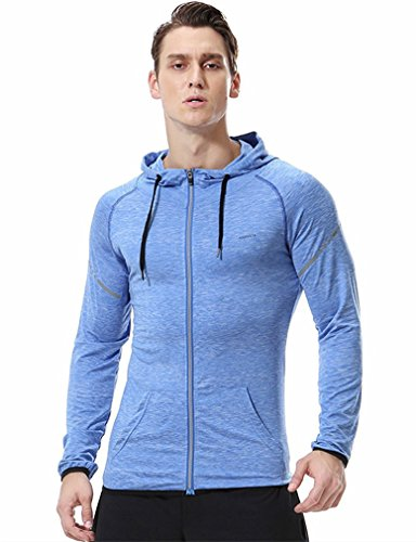 Die Zeit Kinder-baseball-jersey (Herren Fitness Hoodies Sweatshirt Slim Fit Zip Up Reflektierende Workout Gym T-Shirts Quick Dry Kapuzenjacke Leicht Top Teens Jungen, blau)