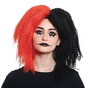 Bristol Novelty BW961 Crazy Girl - Peluca para mujer, color negro y rojo