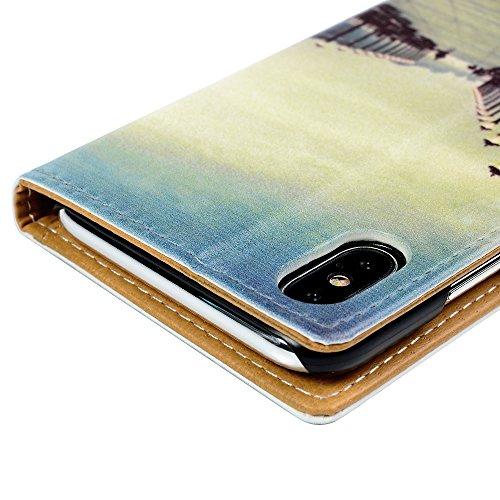 MAXFE.CO Lederhülle Case Schutz für iPhone X PU Leder + PC Innere Etui Schale Backcover Brieftasche Gemalt Flip Cover mit Kartenfächer Magnetverschluß Standfunktion Schmetterling Straßenlampe