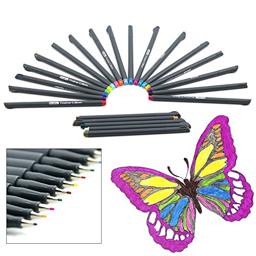 laconile Premium Sketch Fineliner Farbige Marker Stifte (Set von 24) 0,4mm feine Spitze Spitze, verschiedene Lebendige Farben für Erwachsene Färben Bücher, paintng, Zeichnen