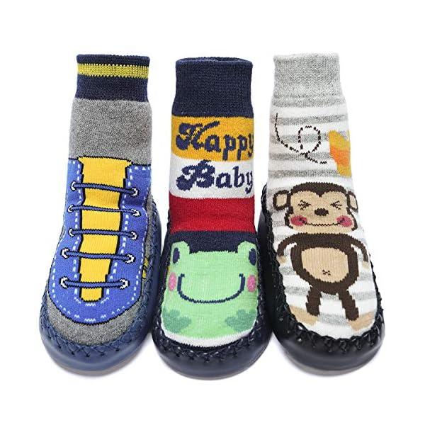 Adorel Calcetines Zapatos Antideslizantes para Bebé 3 Pares 1