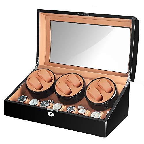Sepano Uhrenbeweger für Uhren Herren Damen 6 + 7 Uhren Display Box schwarz matt