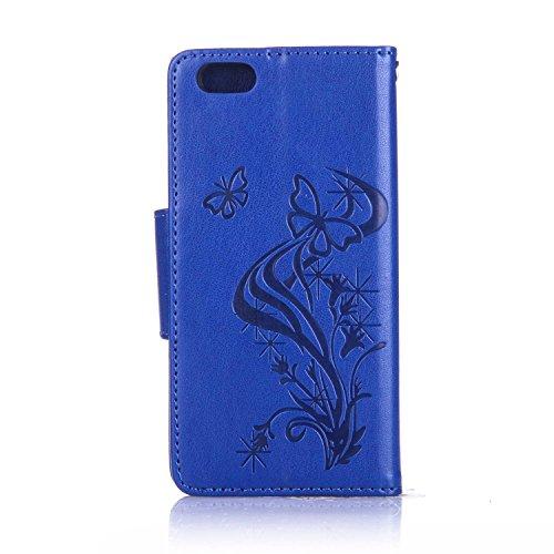 JAWSEU Schmetterling Muster Leder Schutzhülle für iPhone 6/6S,Elegante Retro Einzigartige Rot Diamant/Bling/Glitzer/Strass/Glänzend Schmetterling Blumen Pu Leder Magnetverschluss Strap Protektiv Flip  Schmetterling,Blau