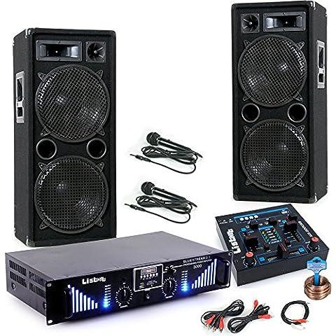 3000W PA Karaoke Party Musikanlage Boxen Bluetooth Endstufe USB MP3 Mixer Mikrofon DJ-Black 2