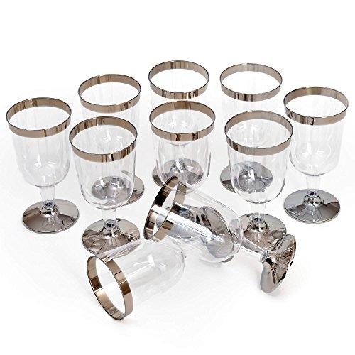 Lot de 10 gobelets jetables GRÄWE - 0,2 l - En plastique transparent solide avec bords argentés