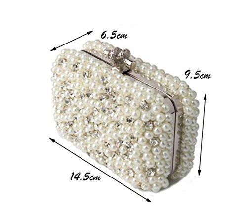 Mode Perlenbeutel High-End-Kleidbrautjunfer Tasche Diamant Abendessen Damen Tasche White