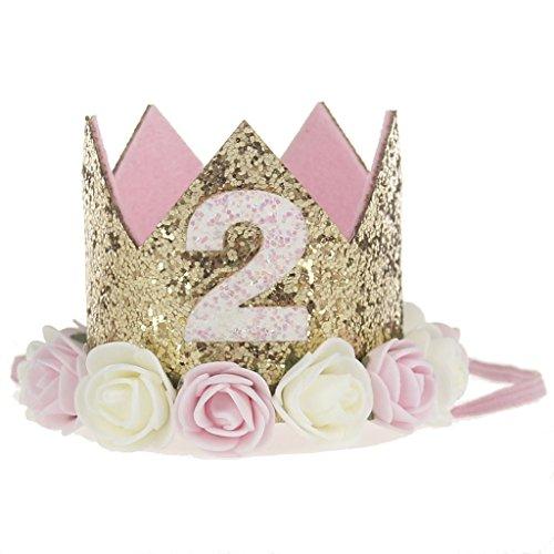 LQZ(TM) Geburtstag Krone 2 Jahr Baby Geburtstagskrone Haarband Haarschmuck Prinzessin Pink Blumen