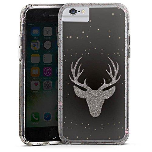Apple iPhone 8 Bumper Hülle Bumper Case Glitzer Hülle Hirsch Deer Glitter Bumper Case Glitzer rose gold