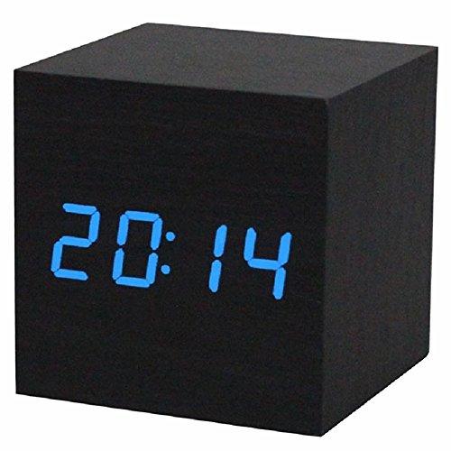Reloj digital - SODIAL(R) Reloj despertador / reloj de mesa digital de madera con puerto USB, funciona con baterias AAA - Negro /azul