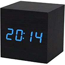 Reloj digital - TOOGOO(R) Reloj despertador / reloj de mesa digital de madera con puerto USB, funciona con baterias AAA - Negro /azul