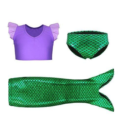 Kidsparadisy 3 Stück Mädchen Meerjungfrau Schwanz Rock Bademode Plicate Vest Bikini Schwimmen Set (lila, 110 (4-5Y))