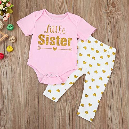 OVINEE 2 STÜCKE Neugeborenen Kleinkind Babyspielanzug Infant Girls Print Overall Kleidung Outfit Anzug + Herz Lange Hosen Kleidung