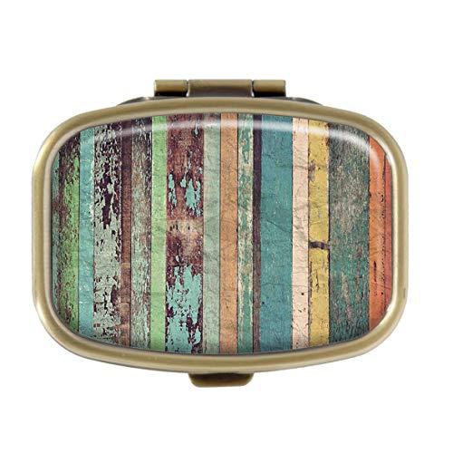 Sherman M4105 Tablettenbox - Holz Material Hintergrund, maßgefertigte Bronzefarbene Tasche, Medikamenten-Organizer Tabletten-Halter
