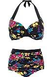 CharmLeaks Damen Bikini Set Retro Blumen Muster Hoher Taille Bikini Gepolsterte Körbchen Mit Bügel Schwarz XL