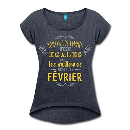 Anniversaire-Les-Meilleures-Naissent-En-Fvrier-T-shirt-Femme--manches-retrousses-de-Spreadshirt