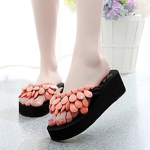 Hausschuhe Ladies Beach Schuhe,Damen Sandalen und Flip Flops,modische Rutschfeste,Dick unten Hausschuhe,vierzig,Korallenrot
