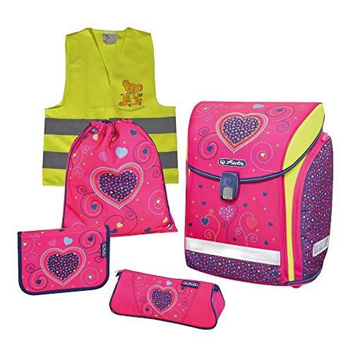 Herlitz Schulranzen Set Midi Plus XL 6 tlg inkl. graviertem Namensschild (Pink Hearts)