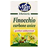 Matt&Diet - Finocchio Carbone Anice - Integratore con Carbone Vegetale per Gonfiori Addominali - 40 Compresse - 28 gr