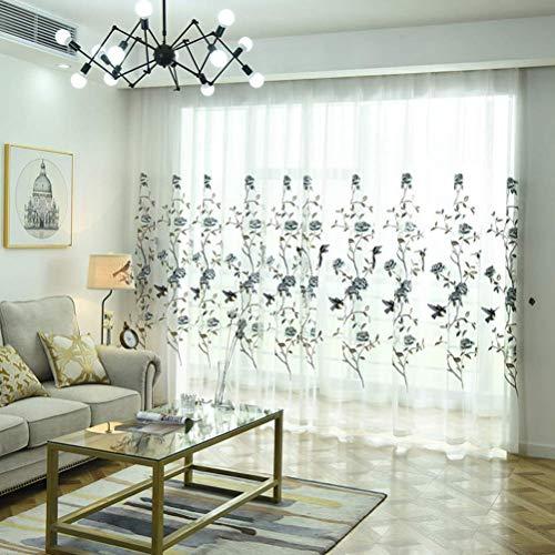 Due pannelli trattamento ricamato motivo floreale voile tenda trasparente con occhielli per soggiorno camera da letto e camera,200 * 270/2