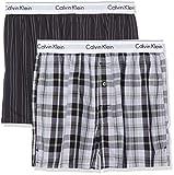 Calvin Klein Herren Boxershorts Boxer Slim 2PK, 2er Pack, Schwarz (Ryan Stripe D Well/Hickory Plaid B JKZ), X-Large