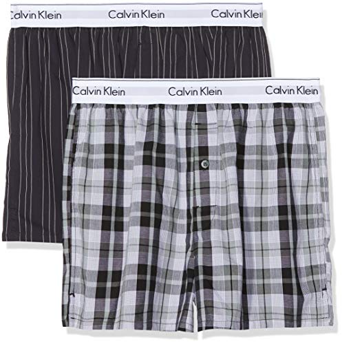 Calvin Klein Underwear Herren 2p Slim Fit Boxer Boxershorts, Schwarz (Ryan Stripe D Well/Hickory Plaid B JKZ), Medium (erPack 2 -