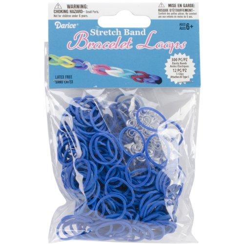 (Darice Loom-Bänder/Armband-Schlaufen, 300 Stück + S-Clips, 12 Stück, sortiert blau)