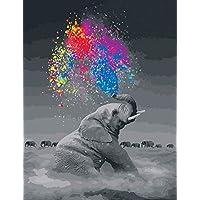 WONZOM Pintura por Números Kit de Pintura acrílica DIY para Adultos y Niños - 16 * 20 Pulgadas Elefante Creativo con 3 Pinceles y Colores Brillantes Sin Marco