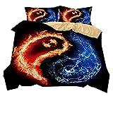 Stillshine Bettwäsche Set Yin und Yang Klatschfigur Flamme Bettbezug und Kissenbezug 100% Polyesterfaser Bettwäsche mit Verdecktem Reißverschluss (Yin und Yang Klatsch, 135x210cm)