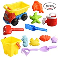 ALANGDUO Kids Beach Sand Toys, Sand Pit Toys with Molds Beach Pail Shovel Dump Truck Bucket and Spade Sand Toy Kits for Toddlers, Summer Outdoor Toys 13 Pieces (Yellow Bucket)