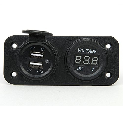 BEST BUY# HAKKAIN MOTOR CAR TRUCK BOAT DC DIGITAL VOLTMETER THREE HOLE PANEL DC 12V CIGARETTE LIGHTER POWER SOCKET DUAL USB PORT POWER SUPPLY CHARGER