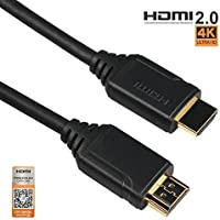 HDMI 2.0 Cable 4K60Hz HDR 3ft(1M) Certificated by Premium HDMI Alliance Official, High Speed 18Gbps, Pro Golden Connector, Ethernet Channel / Audio Return(ARC), CEC, 3D, Ultra HD, Male to Male HDMI lead, 30AWG, Black