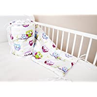Cuna Nest–Protector de cabeza cuna 420x 30cm, 360x 30cm, 180x 30cm Cama Cuna Baby Protector de bordes cama Equipamiento búho Color Blanco