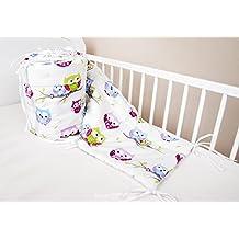 Bettumrandung Nest Kopfschutz Nestchen 420x30cm, 360x30cm, 180x30 cm Bettnestchen Baby Kantenschutz Bettausstattung Eule weiß