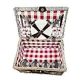 Quantio Weiden Picknick Korb 21-tlg. - für 4 Personen - 31 x 42 x 18,5 cm - Rot Kariert - 4 Porzellan Teller, je 4X Messer, Gabel, Löffel, 4 Gläser
