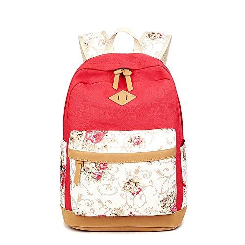 Blume gedruckten Casual Canvas Laptop Tasche Schule Rucksack leichte Rucksäcke für Teen junge Mädchen Rot