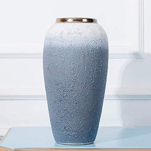 Fighrh Europäische Klassische Vintage Handgemachte Keramik Vase Traditionellen Wohnzimmer Dekoration Bodenvase Veranda Blumenschmuck Hydroponischen Pflanze Pflanzgefäß Vase Büro Villa Landschaft Blume