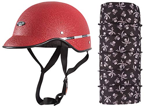 Habsolite Autofy All Purpose Safety Helmet with Strap for bikes (Red, Free Size) and Autofy Pirate Skull Print Lycra Headwrap Bandana for Bikes (Black and White, Free Size) Combo