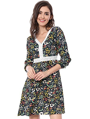 Allegra K Damen Spitze V-Ausschnitt Blume Muster Langarm A-Linie Kleid, S (EU 38)/Blau (Allegra Sommer Kleider)