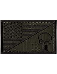 OD Green USA Drapeau Punisher Crâne ACU Marine Navy Seals Morale Armée Gear Touch Fastener Écusson Patch