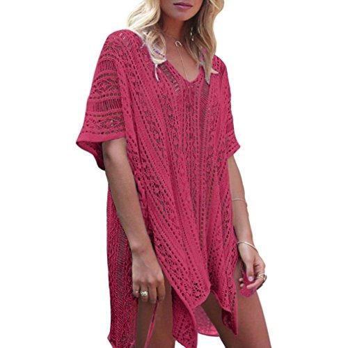 Hand Crochet-kleid (OVERDOSE Frauen Baden Beach Cover Up Kleid Bikini Badeanzug Bademode Crochet Smock(Red2,Freie Größe)