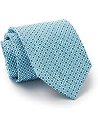 Savile Row Men's Aqua White Blue Daisy Print Silk Tie