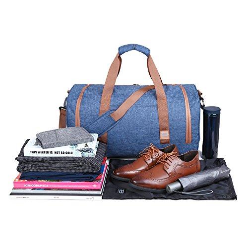 BAGSMART Borsone da Viaggio Impermeabile Grande Capacità Borsa Sportiva Nero Blu