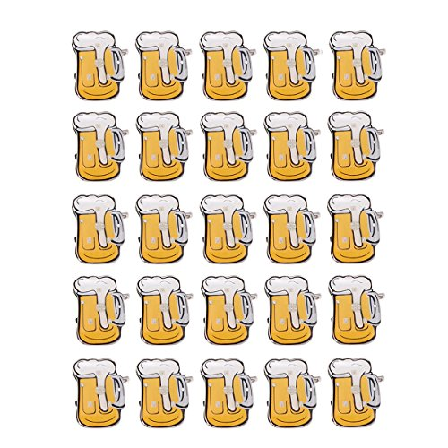 Toyvian LED Brosche mit Bierkrug Form Emaille Brosche Anstecknadel für Frauen Männer Kinder Party 25 Stücke -