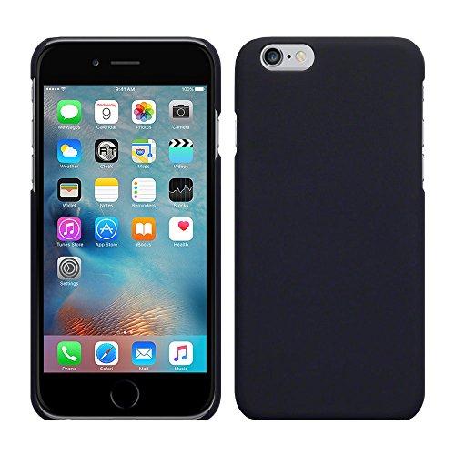 Apple iPhone 6S Plus (5,5 Zoll) - Rubber Schutzhülle Gummiert Hybrid Hard Case Schutz Cover Etui Hülle Tasche in Weiß - RT-Trading Schwarz