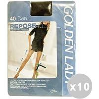 GOLDEN LADY - Lote de 10 reposa medias doradas Lady de 40 den, color negro, talla IV 36 g