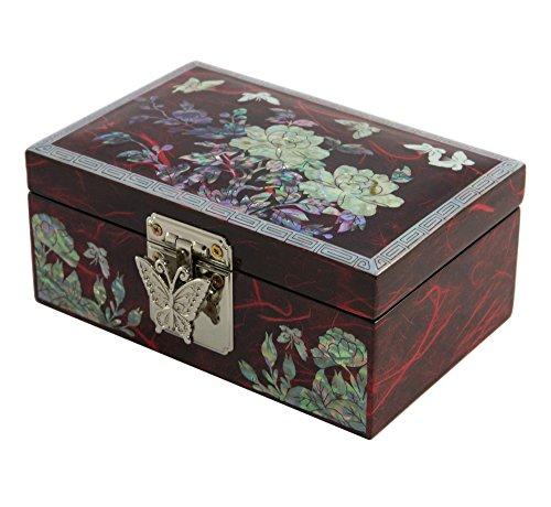 , edler - kleiner Schmuckkasten, Schmuckbox aus Natürliches Perlmutt - Box Jewelry Design Asiatisches für Mädchen (Kleine Asiatische Mädchen)