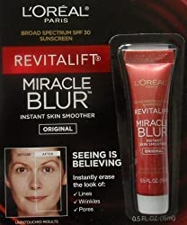 LOreal Paris Revitalift Miracle Blur Instant Skin Smoother Finishing Cream with Broad Spectrum SPF 30 Sunscreen .5 Oz (15 mL)