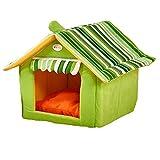 Hundehöhle Katzenhöhle Hundehütte Hundebett Katzenbett Hundehaus Haustier Zwinger Abnehmbares Dach kleine Haustier (XL, grün)