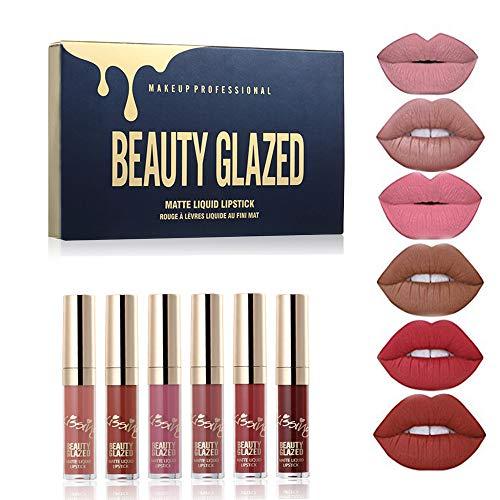 BEAUTY GLAZED 6 Couleur Set Rouge à Lèvres Liquide Mat Longue Tenue...